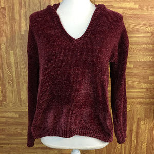 Forever 21 sz S Maroon Soft V-Neck Hoodie